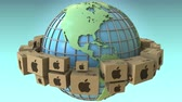 continent americain : Cartons with Apple Inc logo around the world, America emphasized. Conceptual editorial loopable 3D animation