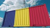 クレーン : Container with flag of Romania. Romanian import or export related conceptual 3D animation