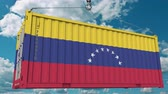 товар : Cargo container with flag of Venezuela. Venezuelan import or export related conceptual 3D animation