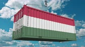 wegry : Loading container with flag of Hungary. Hungarian import or export related conceptual 3D animation