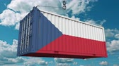 クレーン : Loading container with flag of the Czech Rebublic. Import or export related conceptual 3D animation 動画素材