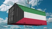 tara : Loading cargo container with flag of Kuwait. Kuwaiti import or export related conceptual 3D animation Stock Footage