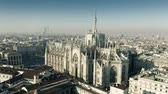 Aerial shot of Milan Cathedral or Duomo di Milano, main citys landmark. Italy