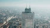 çatılar : Aerial view of high rise building roof and Milan cityscape. Lombardy, Italy