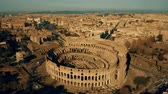 coliseu : Aerial shot of the Colosseum, the most visited landmark of Rome, Italy