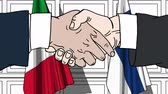 рукопожатие : Businessmen or politicians shake hands against flags of Italy and Finland. Official meeting or cooperation related cartoon animation Стоковые видеозаписи