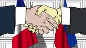 politiker : Businessmen or politicians shake hands against flags of France and Philippines. Official meeting or cooperation related cartoon animation Stock Footage