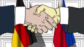 politiker : Businessmen or politicians shake hands against flags of Germany and Philippines. Official meeting or cooperation related cartoon animation