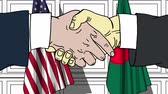 рукопожатие : Businessmen or politicians shake hands against flags of USA and Bangladesh. Official meeting or cooperation related cartoon animation Стоковые видеозаписи