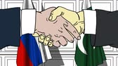 рукопожатие : Businessmen or politicians shake hands against flags of Russia and Pakistan. Official meeting or cooperation related cartoon animation