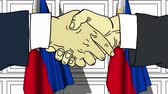 рукопожатие : Businessmen or politicians shake hands against flags of Philippines. Official meeting or cooperation related cartoon animation
