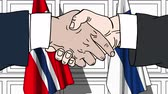 рукопожатие : Businessmen or politicians shake hands against flags of Norway and Finland. Official meeting or cooperation related cartoon animation