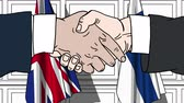 рукопожатие : Businessmen or politicians shake hands against flags of Great Britain and Finland. Official meeting or cooperation related cartoon animation