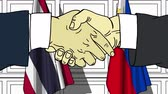 рукопожатие : Businessmen or politicians shake hands against flags of Thailand and Philippines. Official meeting or cooperation related cartoon animation