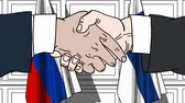 рукопожатие : Businessmen or politicians shake hands against flags of Russia and Finland. Official meeting or cooperation related cartoon animation
