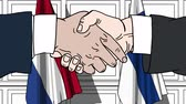 オランダ : Businessmen or politicians shake hands against flags of Netherlands and Finland. Official meeting or cooperation related cartoon animation
