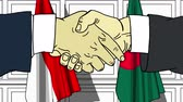 politiker : Businessmen or politicians shake hands against flags of Indonesia and Bangladesh. Official meeting or cooperation related cartoon animation