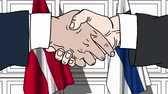 politiker : Businessmen or politicians shake hands against flags of Denmark and Finland. Official meeting or cooperation related cartoon animation Stock Footage