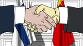 рукопожатие : Businessmen or politicians shake hands against flags of Finland and China. Official meeting or cooperation related cartoon animation