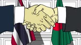 diplomat : Businessmen or politicians shake hands against flags of Thailand and Bangladesh. Official meeting or cooperation related cartoon animation Stock Footage