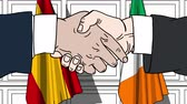 politiker : Businessmen or politicians shake hands against flags of Spain and Ireland. Official meeting or cooperation related cartoon animation