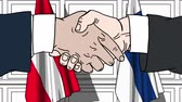 politiker : Businessmen or politicians shake hands against flags of Austria and Finland. Official meeting or cooperation related cartoon animation Stock Footage