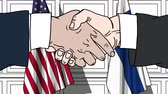 politiker : Businessmen or politicians shake hands against flags of USA and Finland. Official meeting or cooperation related cartoon animation Stock Footage
