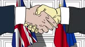 рукопожатие : Businessmen or politicians shake hands against flags of Great Britain and Philippines. Official meeting or cooperation related cartoon animation