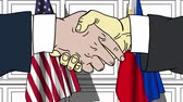 politiker : Businessmen or politicians shake hands against flags of USA and Philippines. Official meeting or cooperation related cartoon animation