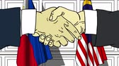 рукопожатие : Businessmen or politicians shake hands against flags of Philippines and Malaysia. Official meeting or cooperation related cartoon animation Стоковые видеозаписи