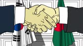 рукопожатие : Businessmen or politicians shake hands against flags of South Korea and Bangladesh. Official meeting or cooperation related cartoon animation