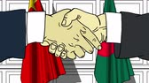 рукопожатие : Businessmen or politicians shake hands against flags of China and Bangladesh. Official meeting or cooperation related cartoon animation