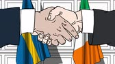 рукопожатие : Businessmen or politicians shake hands against flags of Sweden and Ireland. Official meeting or cooperation related cartoon animation