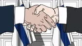 рукопожатие : Businessmen or politicians shake hands against flags of Finland. Official meeting or cooperation related cartoon animation