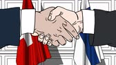 politiker : Businessmen or politicians shake hands against flags of Switzerland and Finland. Official meeting or cooperation related cartoon animation