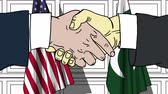 рукопожатие : Businessmen or politicians shake hands against flags of USA and Pakistan. Official meeting or cooperation related cartoon animation