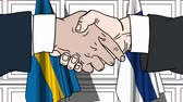 рукопожатие : Businessmen or politicians shake hands against flags of Sweden and Finland. Official meeting or cooperation related cartoon animation