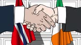 politiker : Businessmen or politicians shake hands against flags of Norway and Ireland. Official meeting or cooperation related cartoon animation