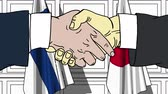 рукопожатие : Businessmen or politicians shake hands against flags of Finland and Japan. Official meeting or cooperation related cartoon animation Стоковые видеозаписи