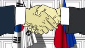 politiker : Businessmen or politicians shake hands against flags of South Korea and Philippines. Official meeting or cooperation related cartoon animation