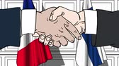 рукопожатие : Businessmen or politicians shake hands against flags of France and Finland. Official meeting or cooperation related cartoon animation