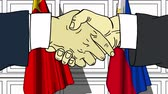 рукопожатие : Businessmen or politicians shake hands against flags of China and Philippines. Official meeting or cooperation related cartoon animation