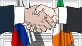 politiker : Businessmen or politicians shake hands against flags of Russia and Ireland. Official meeting or cooperation related cartoon animation