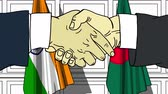 politiker : Businessmen or politicians shake hands against flags of India and Bangladesh. Official meeting or cooperation related cartoon animation