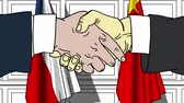 politiker : Businessmen or politicians shake hands against flags of the Czech Republic and China. Official meeting or cooperation related cartoon animation Stock Footage