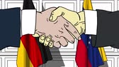 diplomat : Businessmen or politicians shake hands against flags of Germany and Venezuela. Official meeting or cooperation related cartoon animation Stock Footage