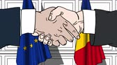 diplomat : Businessmen or politicians shake hands against flags of the European Union and Romania. Official meeting or cooperation related cartoon animation Stock Footage