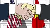 politiker : Businessmen or politicians shake hands against flags of the USA and Vietnam. Official meeting or cooperation related cartoon animation Stock Footage