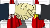 diplomat : Businessmen or politicians shake hands against flags of Hong Kong and Vietnam. Official meeting or cooperation related cartoon animation