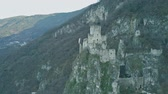 zamek : Aerial view of ruined medieval Haderburg Castle in Salorno, Italy Wideo